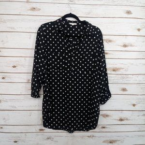 Pleione Polka Dot rolled Sleeves Tunic/ Blouse  L